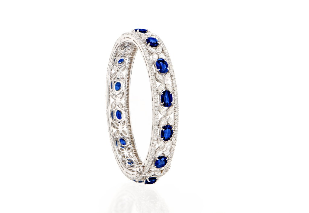 Ceylon blue sapphire bangle - Kanjimull