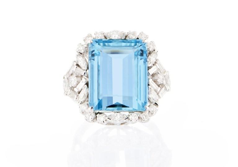16k White Gold Blue Aquamarine Rectangular Genuine Gemstone and Diamond Promise Ring For Women Birthstone of March