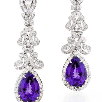 Earrings of Amythst and diamonds